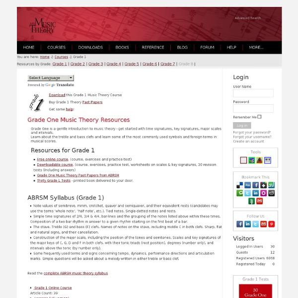 Free online grade one music theory lessons for ABRSM students.