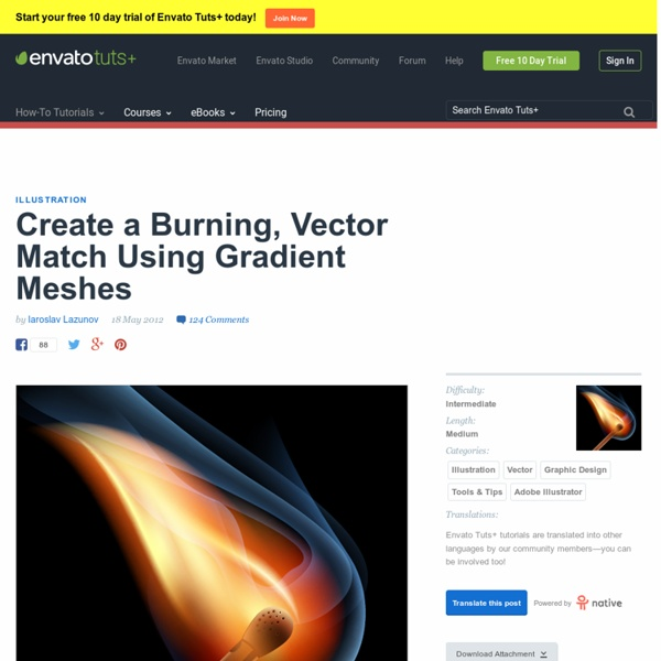 Create a Burning, Vector Match Using Gradient Meshes