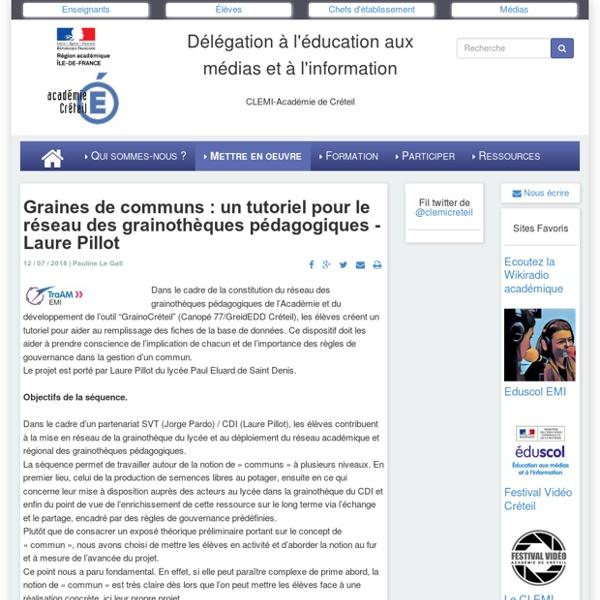 CLEMI-Créteil - Graines de communs : un tutoriel pour le réseau des grainothèques pédagogiques - Laure Pillot