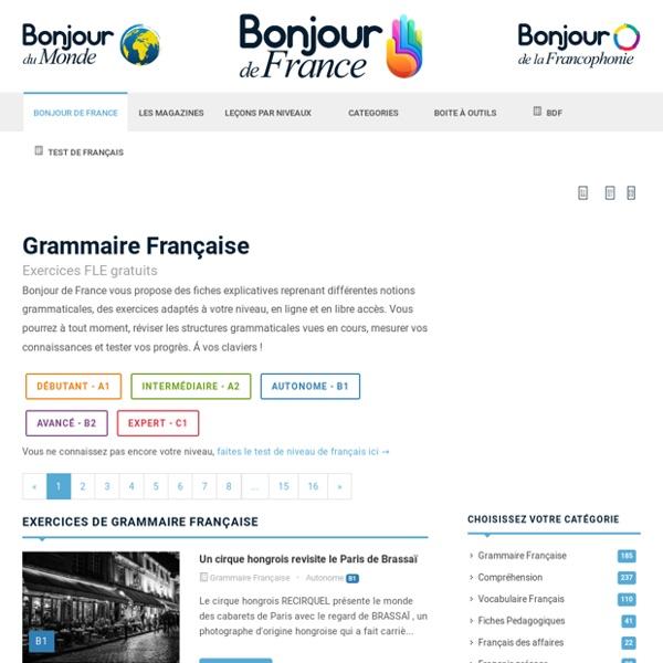 Grammaire française : cours et exercices gratuits en ligne