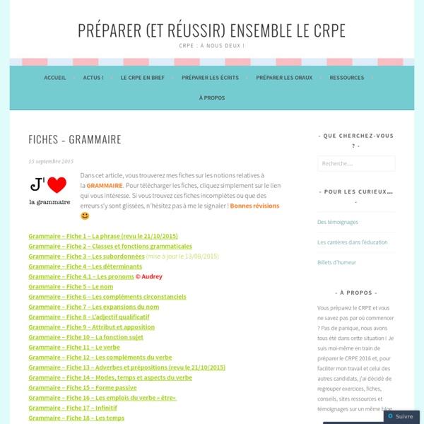 Fiches – Grammaire – Préparer (et réussir) ensemble le CRPE
