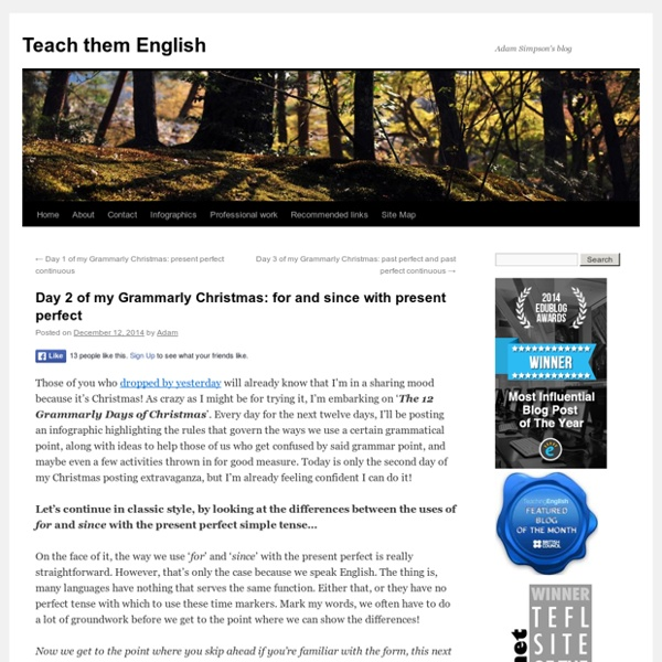 Day 2 of my Grammarly Christmas: for and since with present perfect