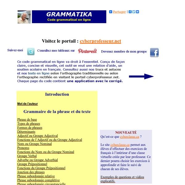 Grammatika - code grammatical en ligne - Soutien scolaire en grammaire française