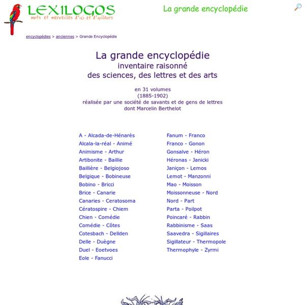 La Grande Encyclopédie en ligne (1885-1902) LEXILOGOS