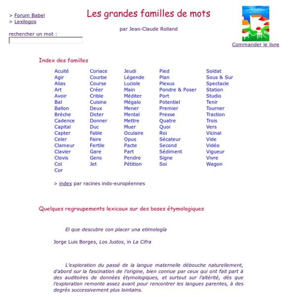 Les grandes familles de mots par Jean-Claude Rolland