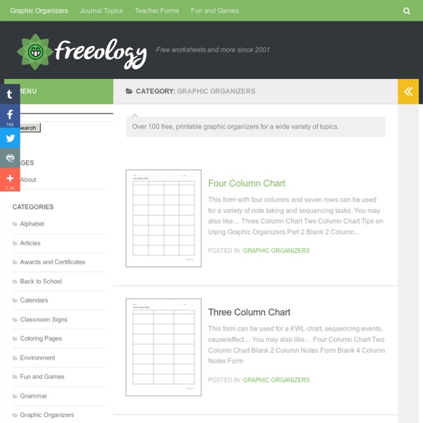 Free Printable Graphic Organizers - Freeology