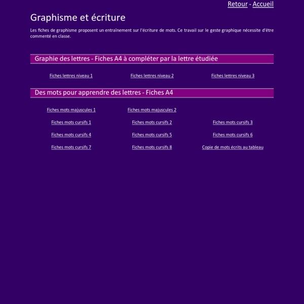 Graphisme et écriture GS CP CE1