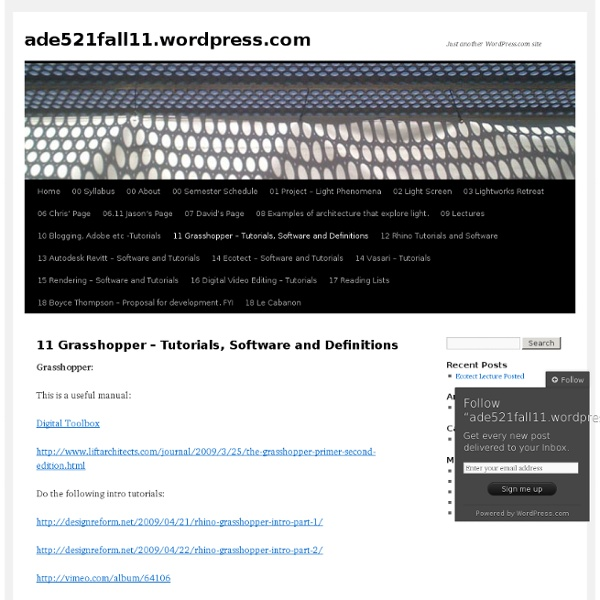 11 Grasshopper – Tutorials, Software and Definitions