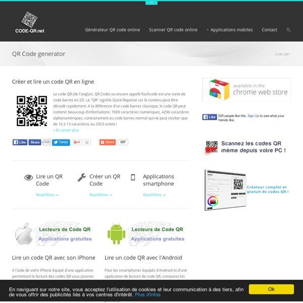 Présentation et information sur le Code QR / Code barre 2D / Flashcode
