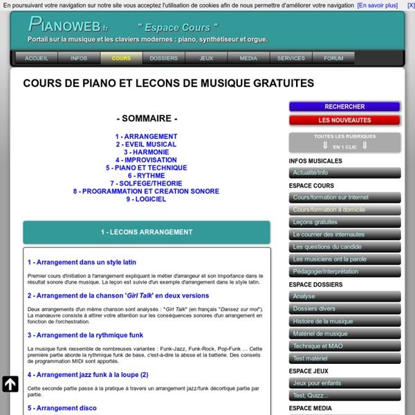 LECON DE PIANO LECON DE MUSIQUE GRATUITE
