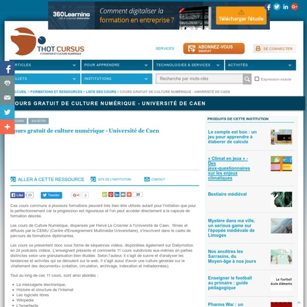 Cours gratuit de culture numérique - Université de Caen