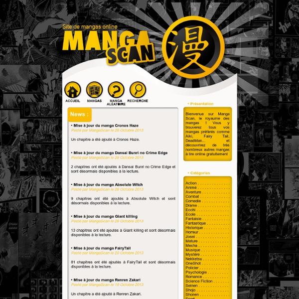 Scans de manga à lire gratuitement sur Manga Scan. Mangas gratuits à voir online.