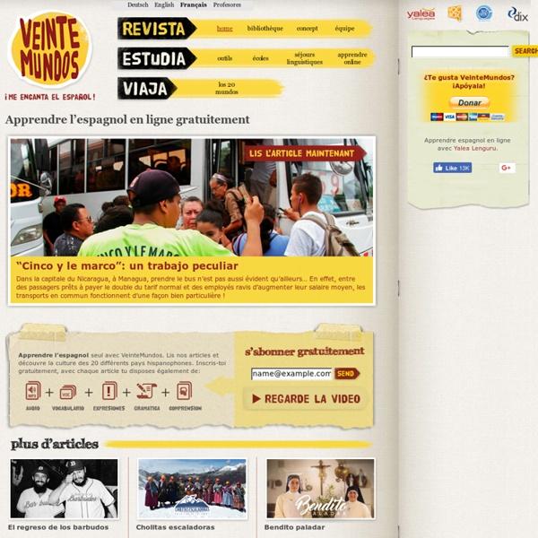 Apprendre l'espagnol en ligne gratuitement e avec VeinteMundos