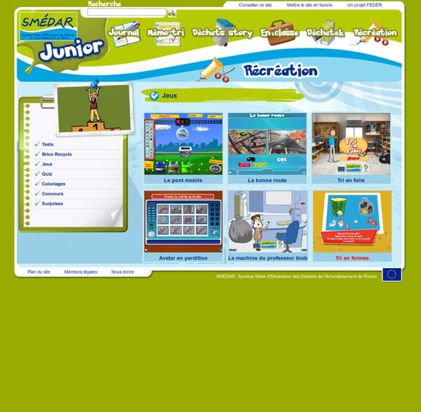 Smedar Junior : Jeux en ligne gratuits pour les enfants afin d'apprendre le tri des déchets