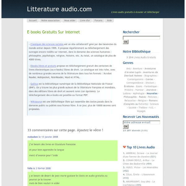 E-books gratuits sur internet