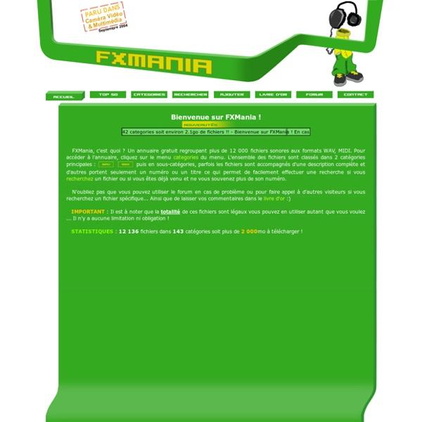 FXMania.eu.org - Sons gratuits WAV & MIDI - Effets spéciaux / divers, musiques, voix, animaux ...