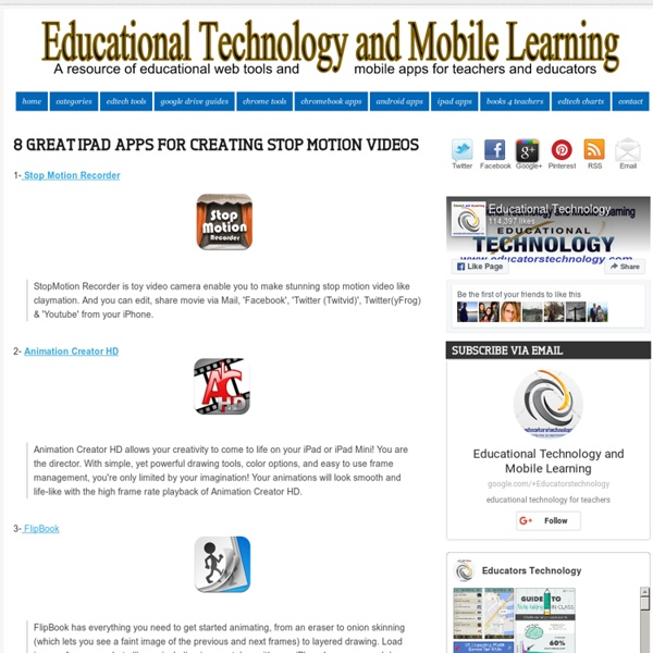 Educational Technology and Mobile Learning: 8 Great iPad Apps for Creating Stop Motion Videos
