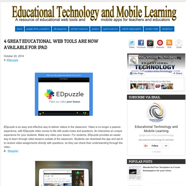 Educational Technology and Mobile Learning: 4 Great Educational Web Tools Are Now Available for iPad