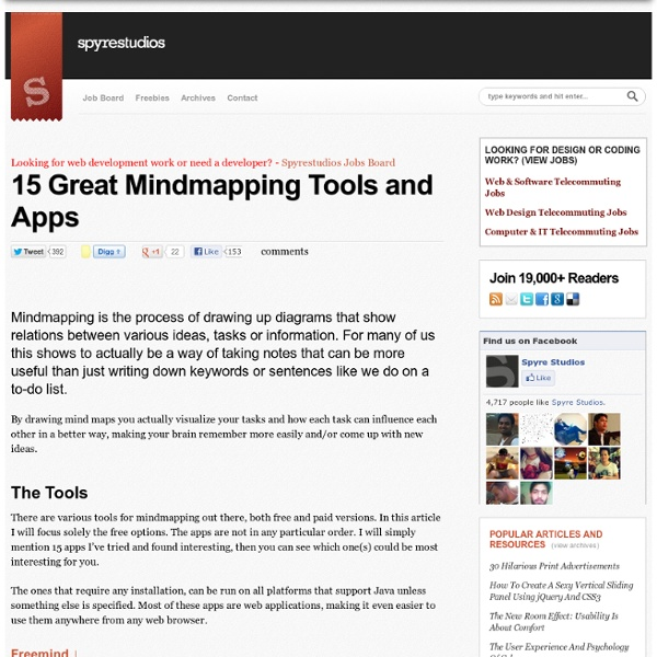 15 Great Mindmapping Tools and Apps