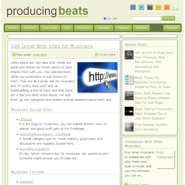 100 Great Web Sites for Musicians