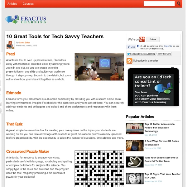 10 Great Tools for Tech Savvy Teachers