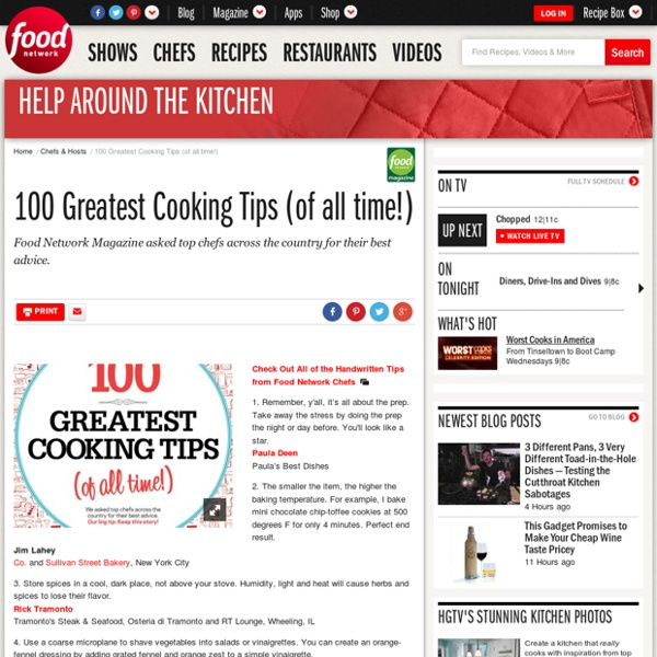 100 Greatest Cooking Tips (of all time!) : Chefs