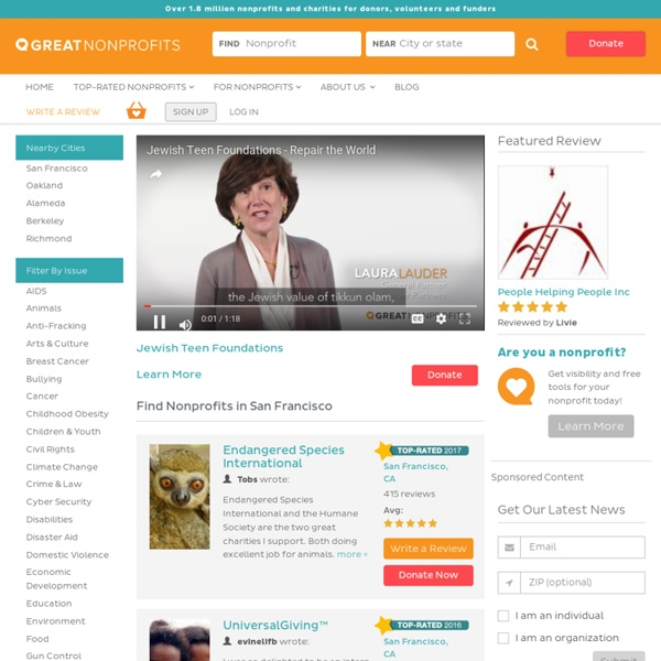 GreatNonprofits: read reviews of nonprofit organizations, NGOs and charities before you volunteer or donate.