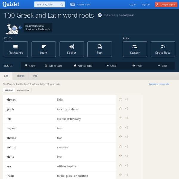 100 Greek and Latin word roots flashcards | Pearltrees