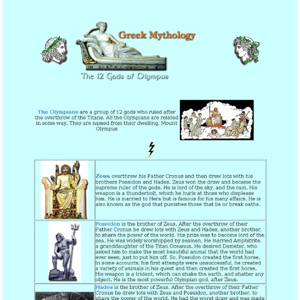 Greek mythology, The 12 Gods of Olympus