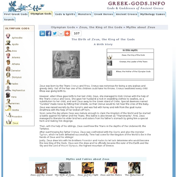Greek Stories about Zeus-The Birth of Zeus, the King of the Gods
