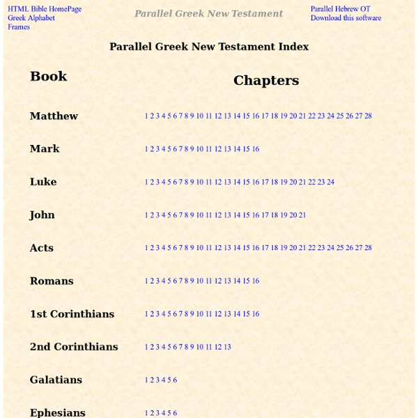 Greek New Testament - Parallel Greek New Testament by John Hurt