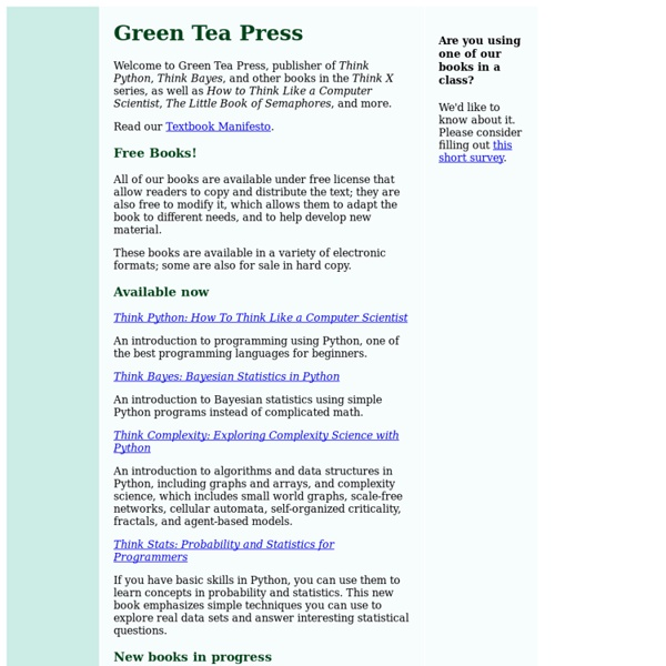 Green Tea Press: Free Computer Science Books