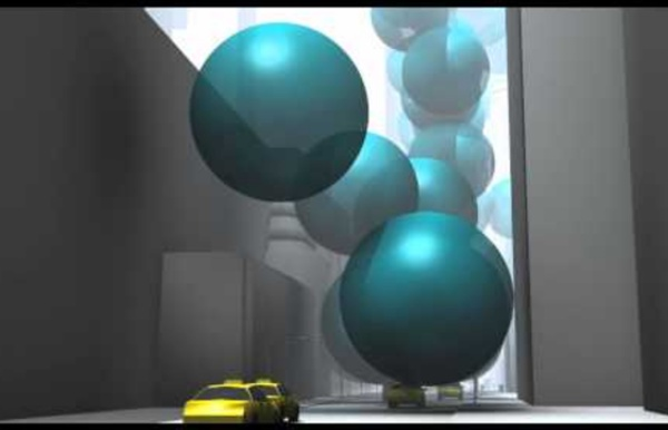 New York City's greenhouse gas emissions as one-ton spheres of carbon dioxide