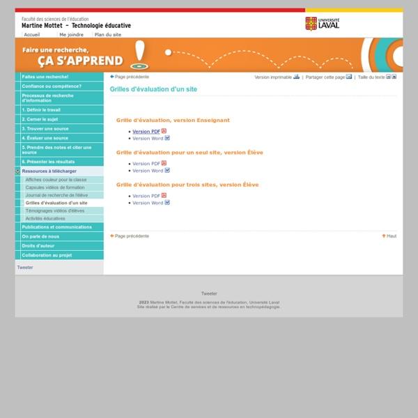 Grilles d'évaluation d'un site