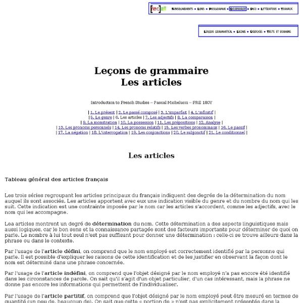 Grimoire FRE 180Y. Leçons de grammaire. Les articles
