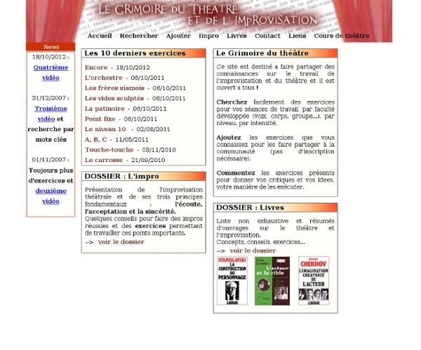Le Grimoire du Theatre - Un recueil d'exercices de theatre en ligne