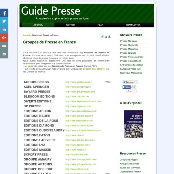 Groupes de Presse en France