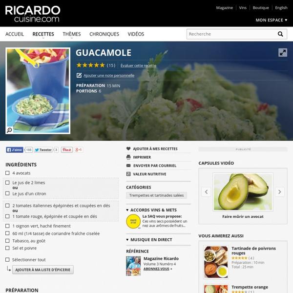 Guacamole Recettes