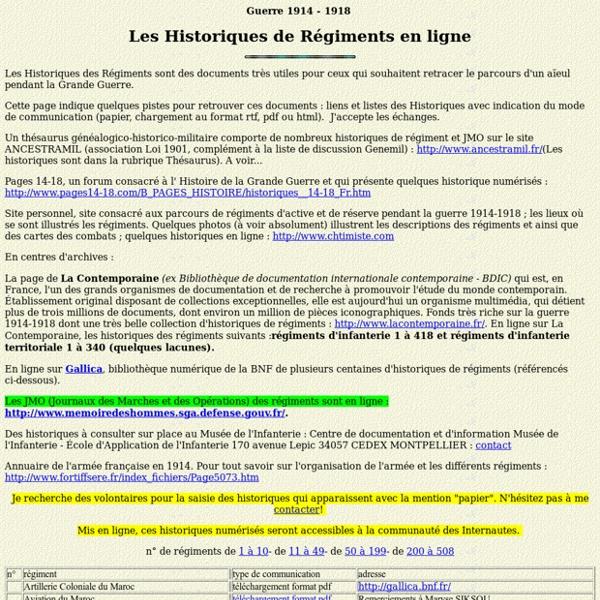 Historiques de régiments en ligne