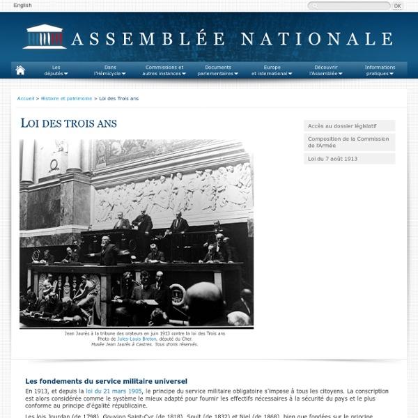 Loi des trois ans - Guerre 1914-1918 - Assemblée nationale