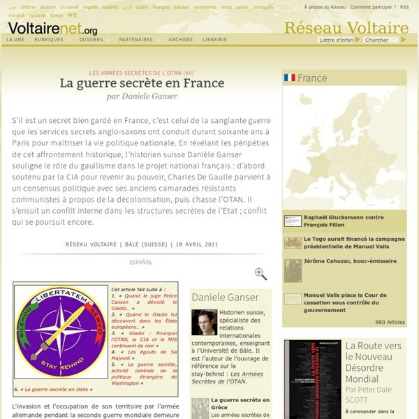 La guerre secrète en France, par Daniele Ganser