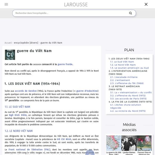 Guerre du Viêt Nam - Encyclopédie Larousse