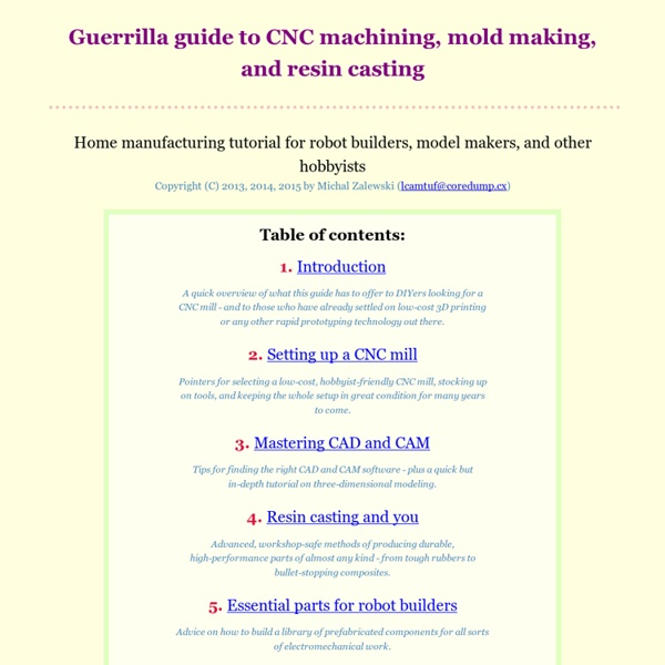Guerrilla guide to CNC machining, mold making, and resin casting