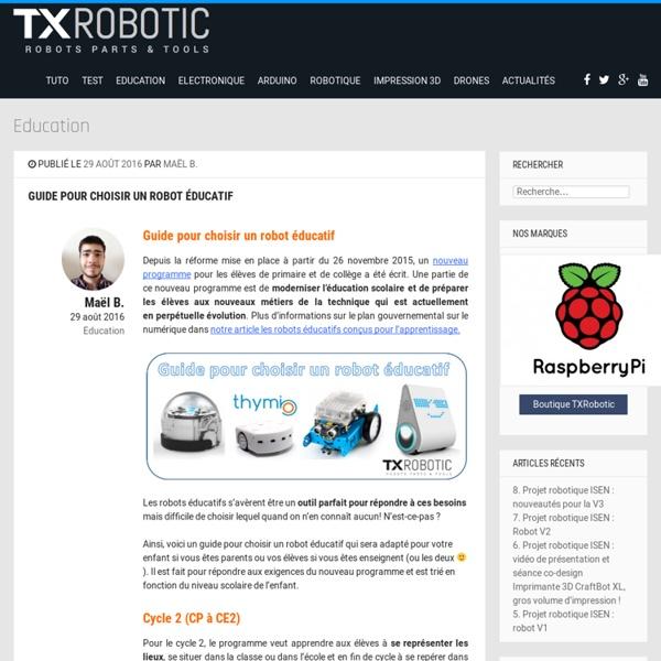 Août 2016 Guide pour choisir un robot éducatif