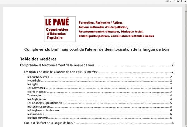 Guide de désintoxication de la langue de bois (Le Pavé)