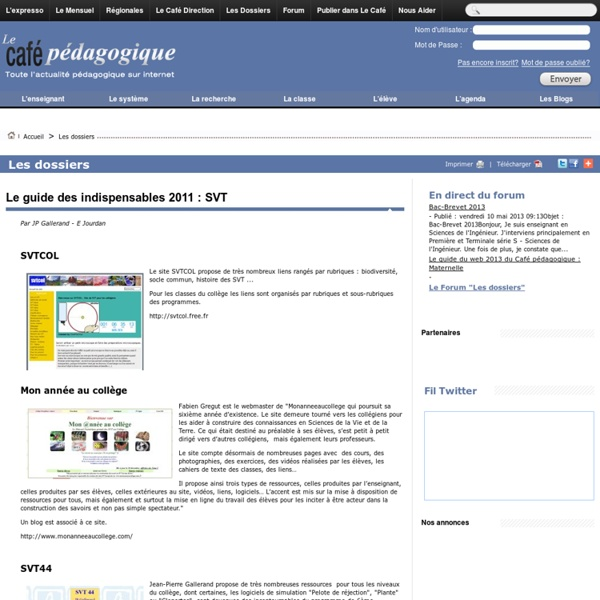 Le guide des indispensables 2011 : SVT