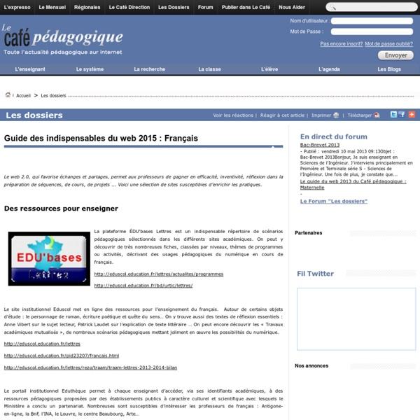 Guide des indispensables du web 2015 : Français