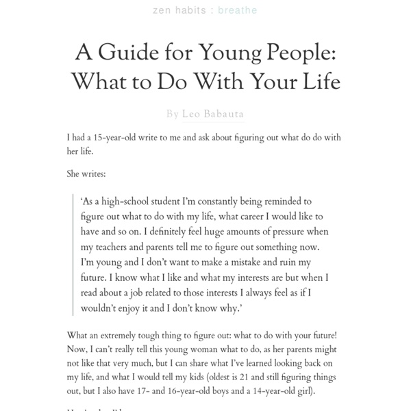A Guide for Young People: What to Do With Your Life