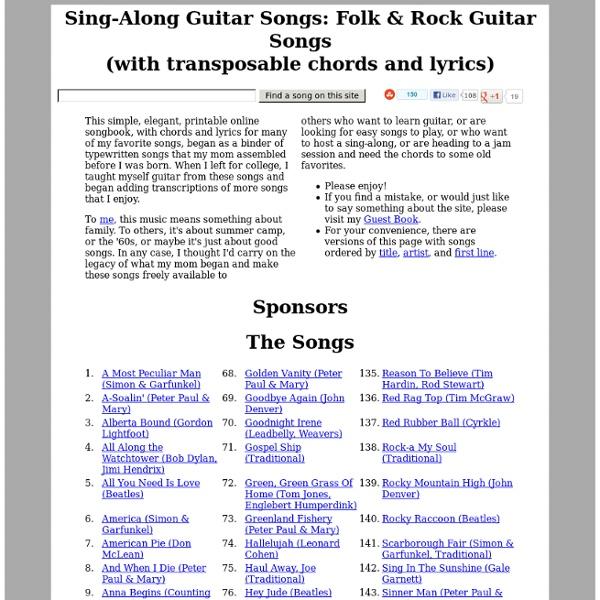 Sing-Along, Folk, & Rock Guitar Songs (chords & lyrics)