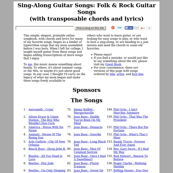 Sing-Along, Folk, &Rock Guitar Songs (chords &lyrics) | Pearltrees